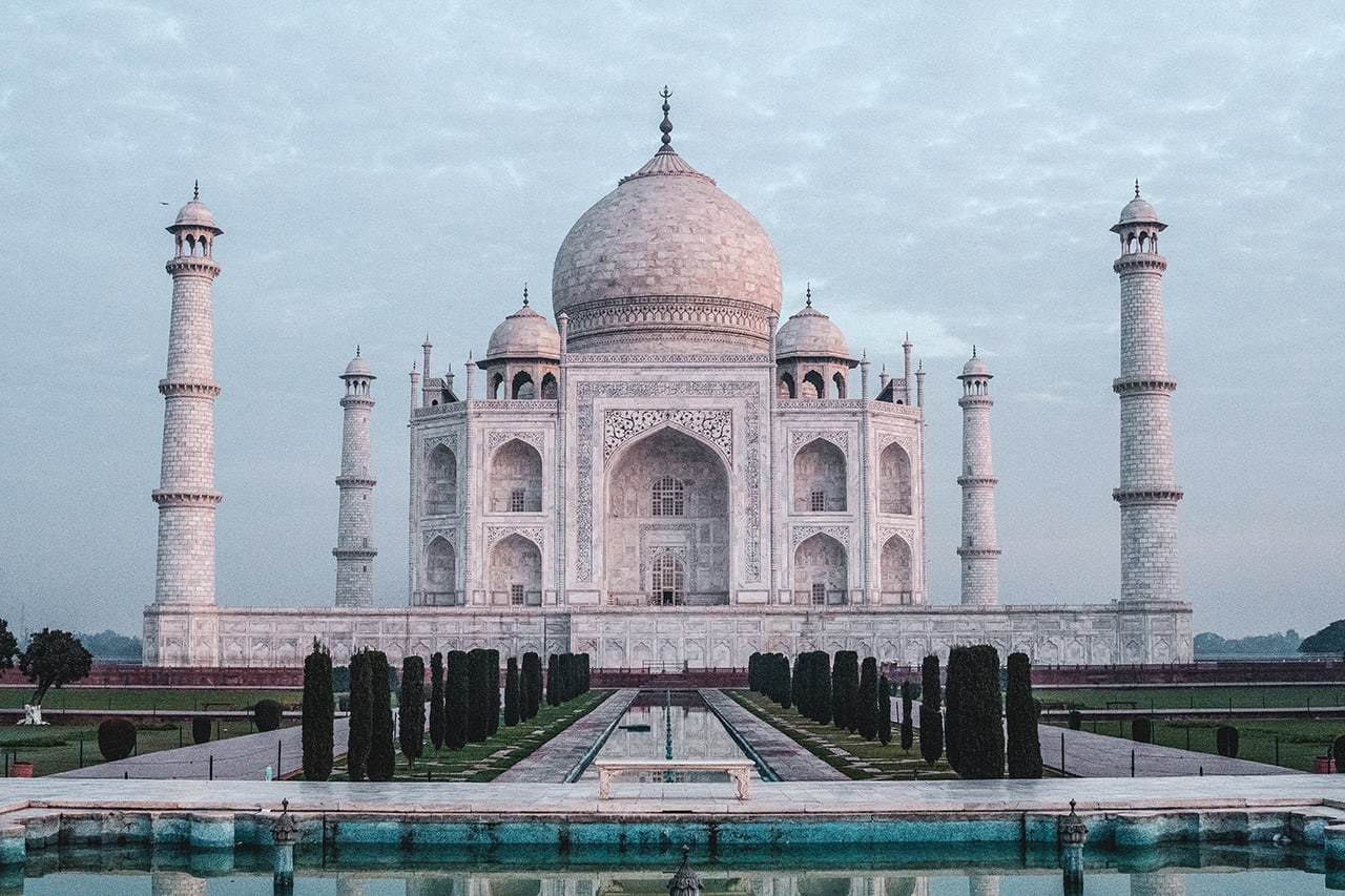 Taj Mahal shortly after sunrise.