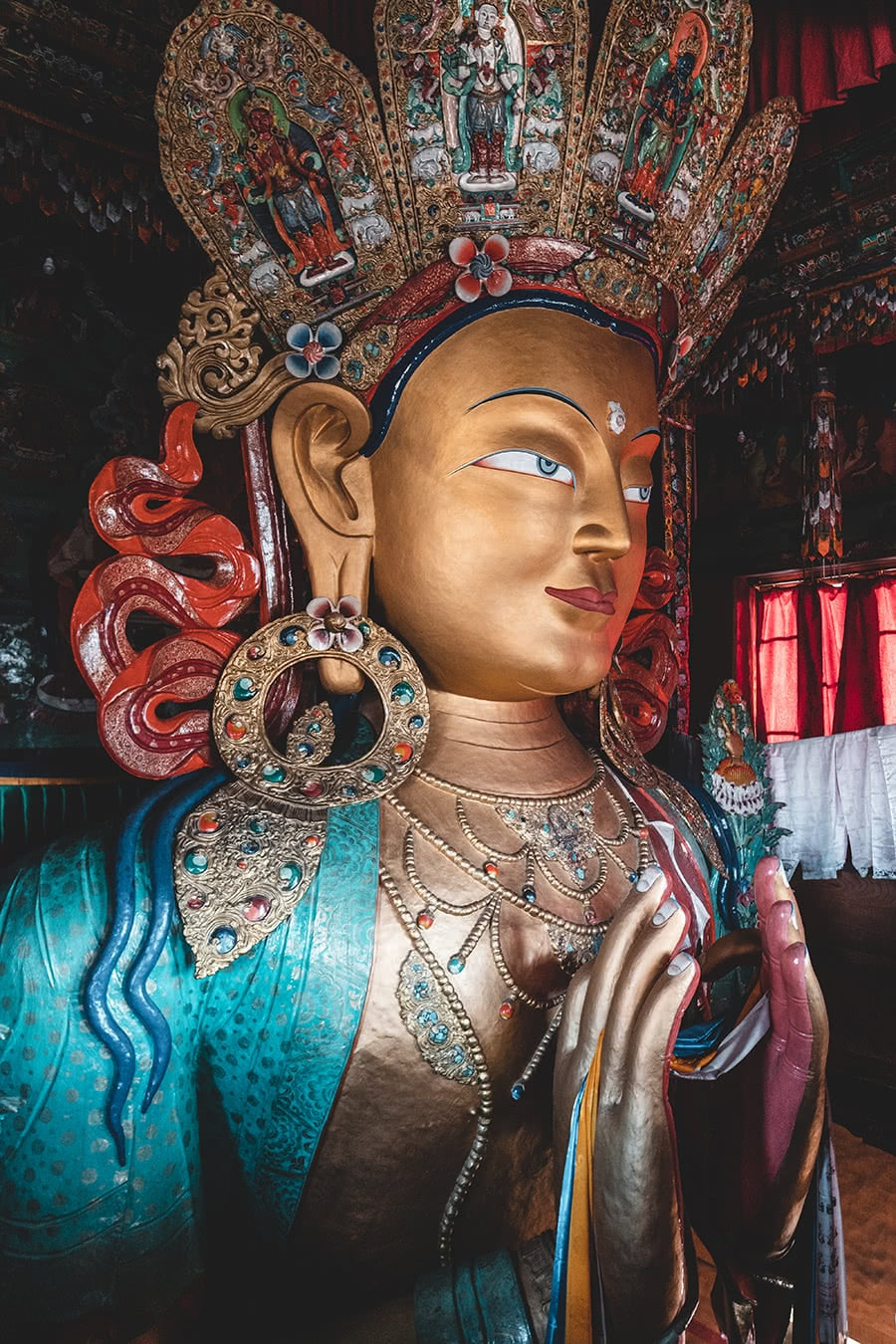 Buddha image at Thiksay Monastery, Ladakh, India.