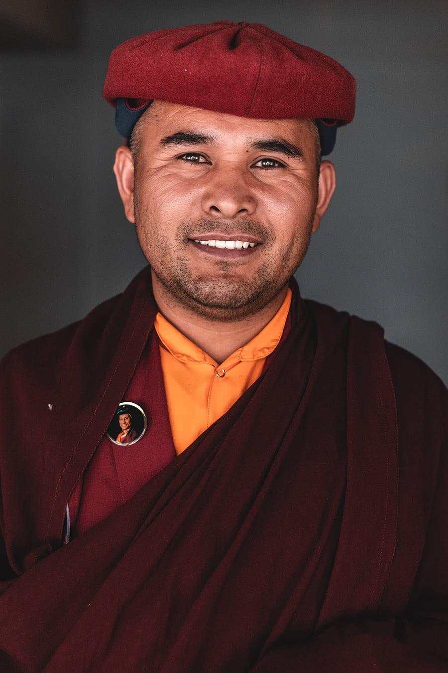 Portrait of a monk at Hemis Monastery, Ladakh.