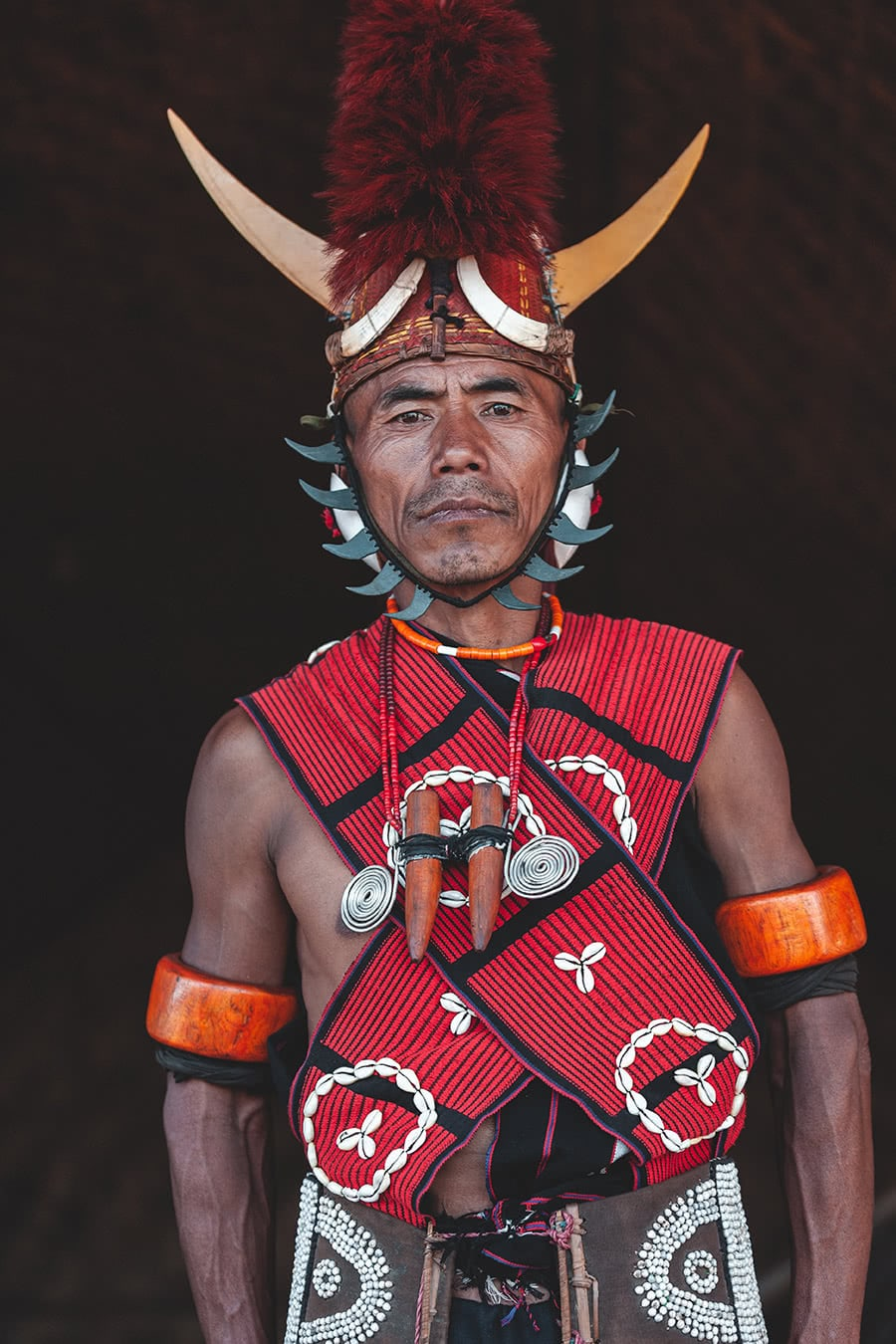 Konyak Naga tribesman at the Hornbill Festival in Kohima, India.