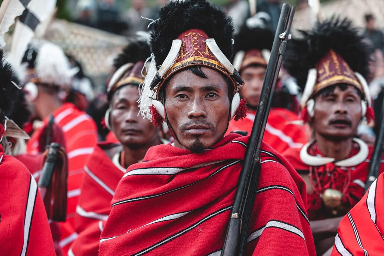 Konyak Nagas at the Hornbill Festival, Kohima, India.