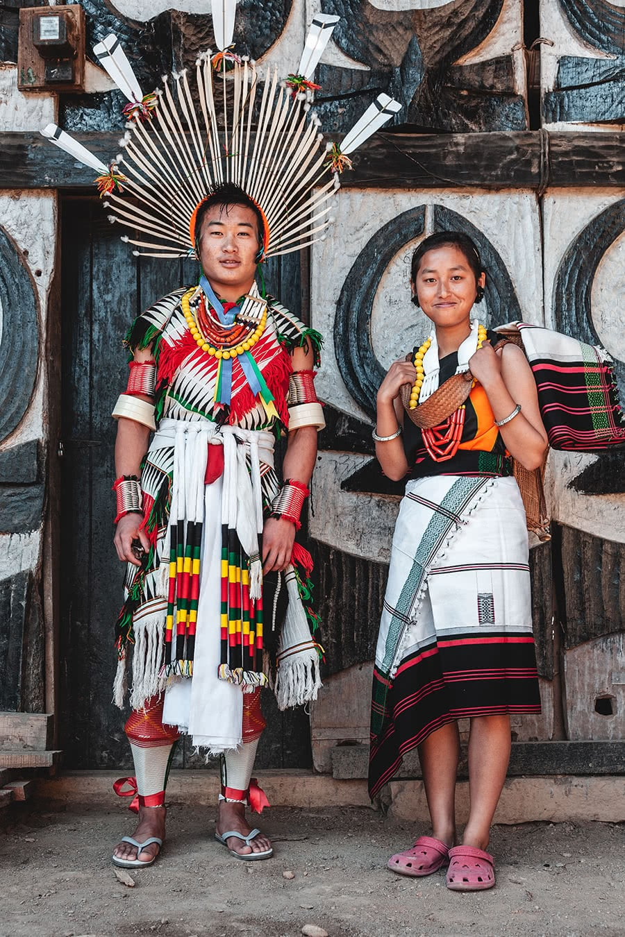 A man from the Angami tribe in Nagaland displays his full traditional attire at his home in Kohima
