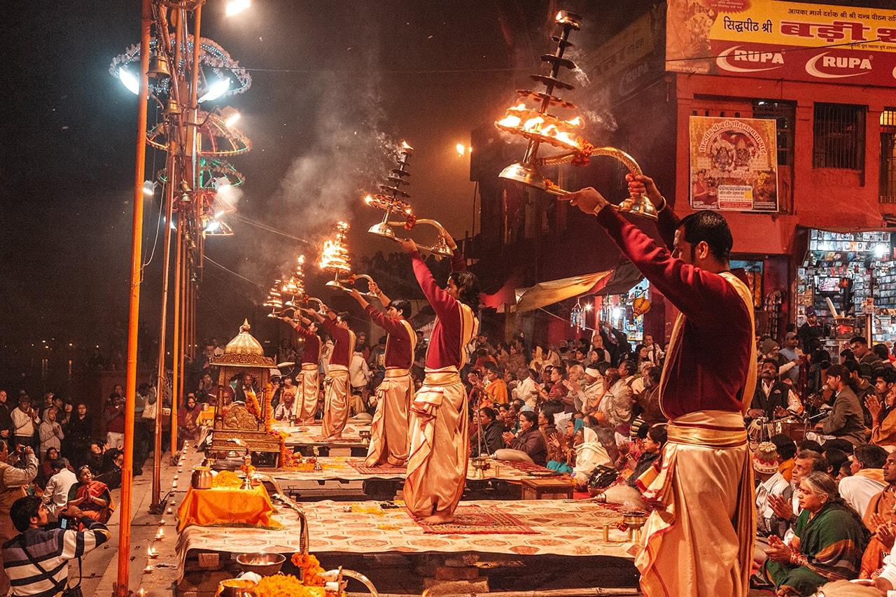 Gangaa Aarti performed in Varanasi, India.