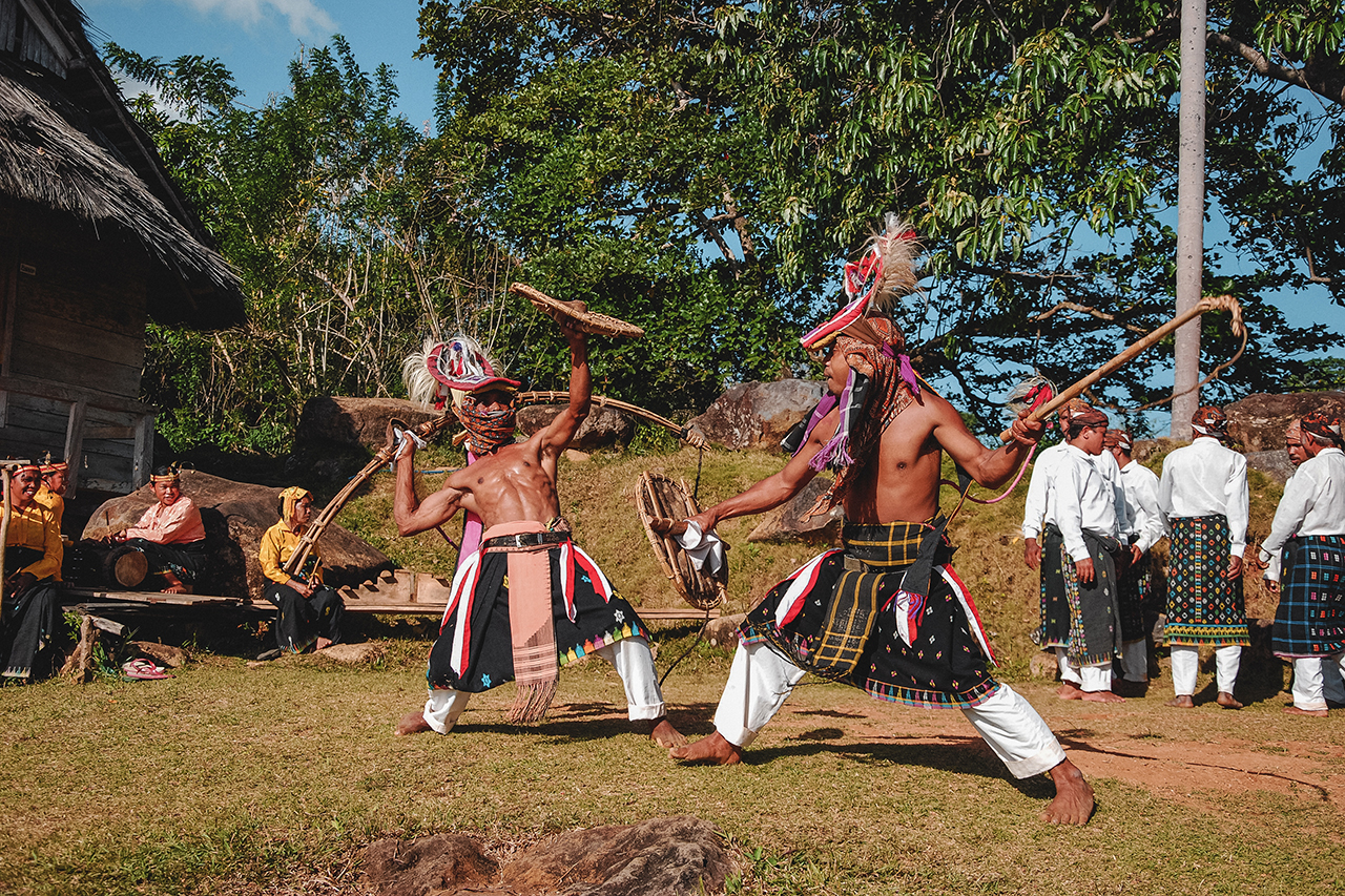 Caci performace at Melo village in Flores, Indonesia.