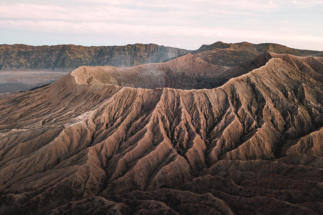 Drone view of Mount Bromo, in East Java, Indonesia.