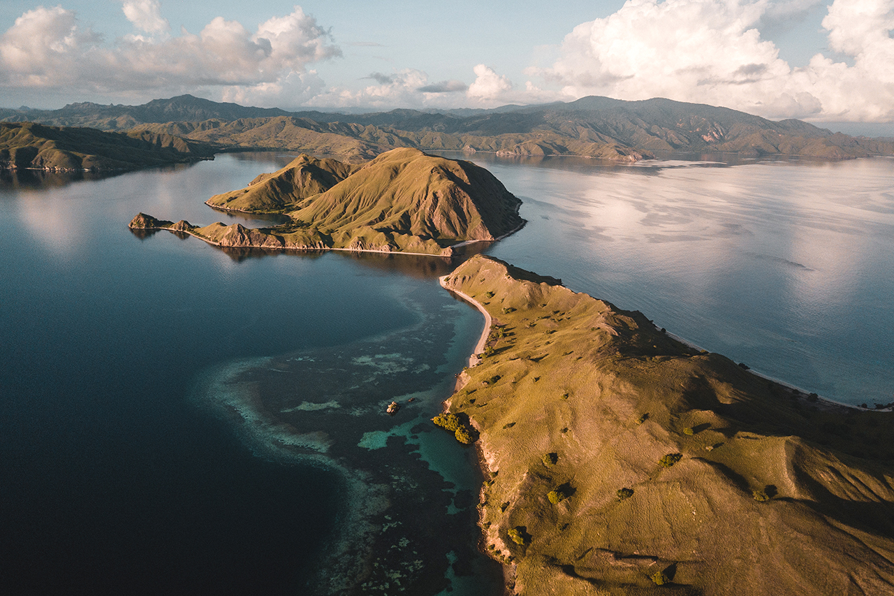 Drone view of the beautiful island of Gili Lawa Darat in Komodo National Park.