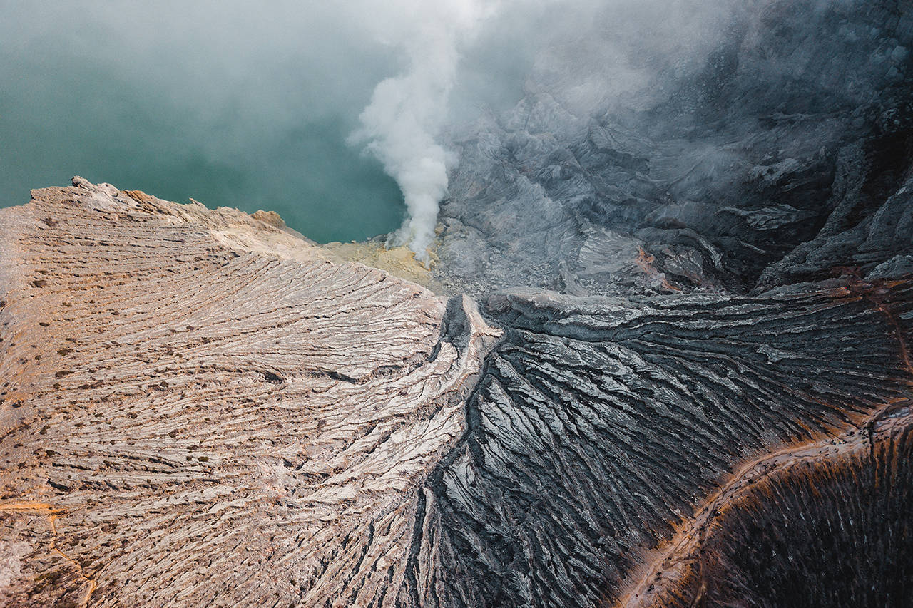 Drone view of Kawah Ijen volcano, East Java, Indonesia.