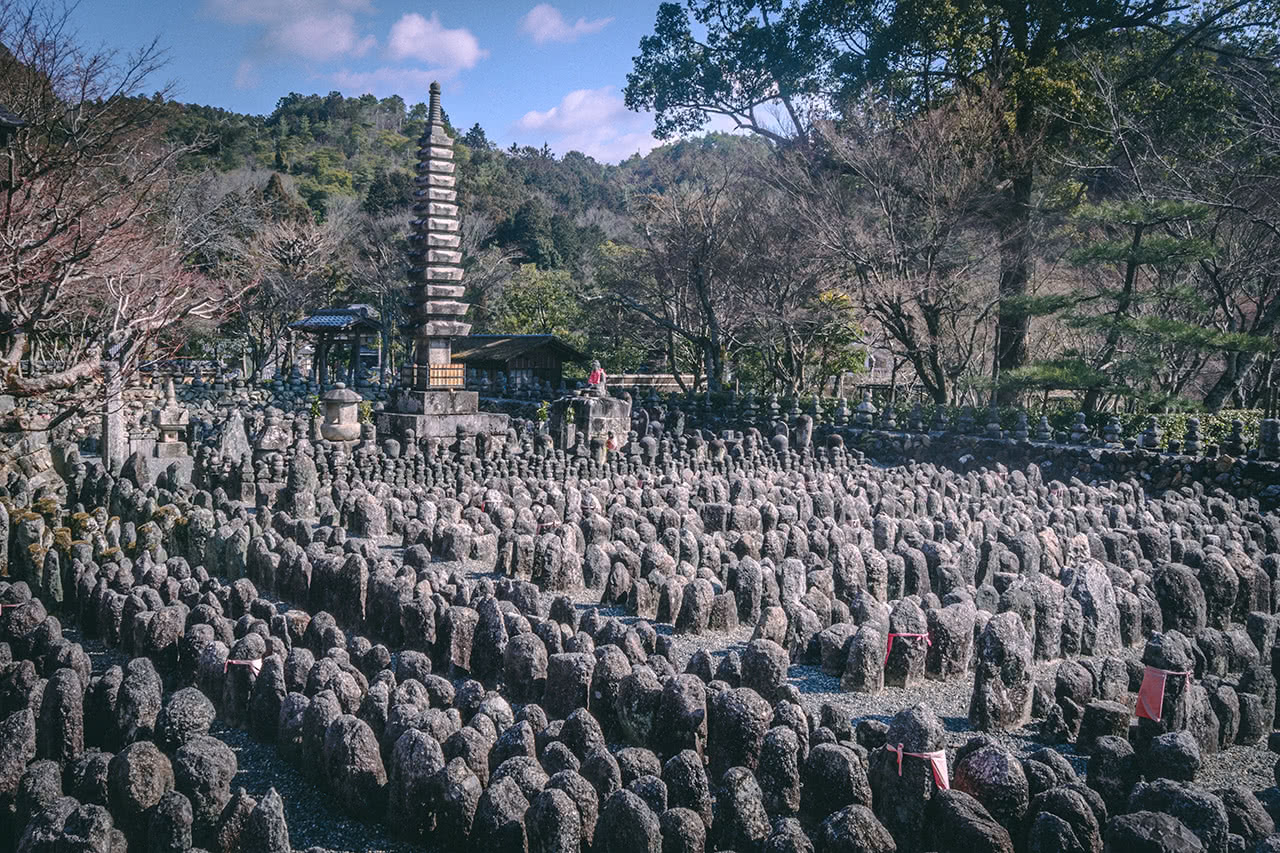 8,000 Buddhist statues memorializing the dead at Adashino Nenbutsu-ji temple in Arashiyama, Kyoto.