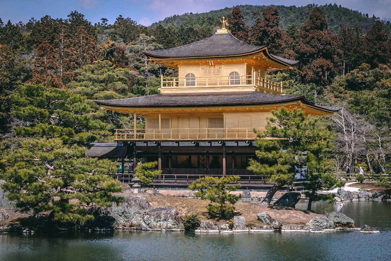 Kinkakuji Zen temple in Kyoto, also known as the Golden Pavilion.