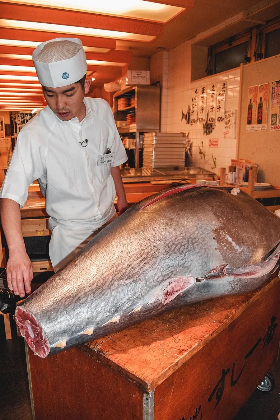 Tuna auction at Tsukiji market in Tokyo.