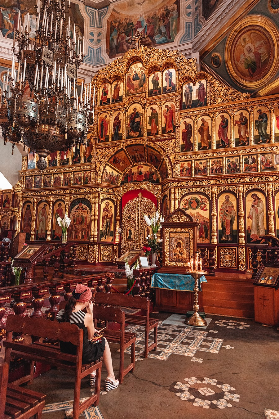 The elaborate interior of Almaty's Russian Cathedral.