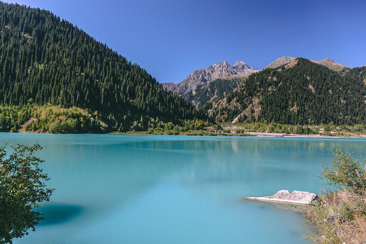 Issyk Lake, located in the southeast Alatau mountain range in Kazakhstan.