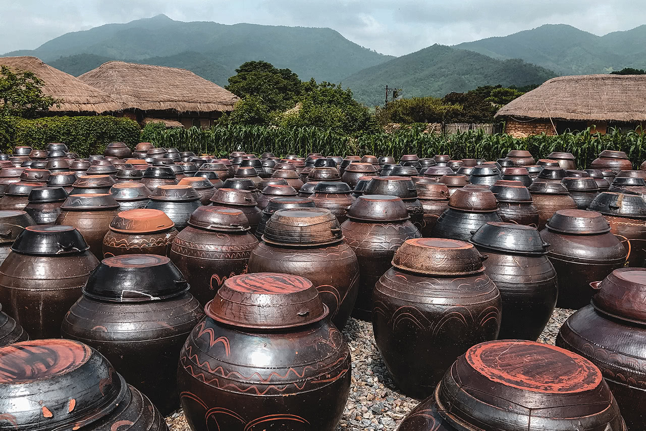 Kimchi fermentation pots in Naganeupseong Folk Village, Korea.