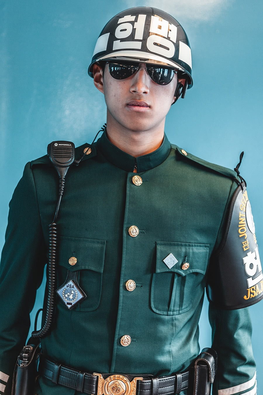 South Korean border guard at the DMZ, Panmunjom, South Korea.