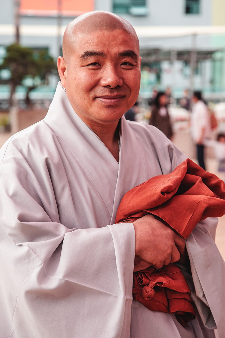 Buddhist monk at Jogyesa temple in Seoul, Korea.