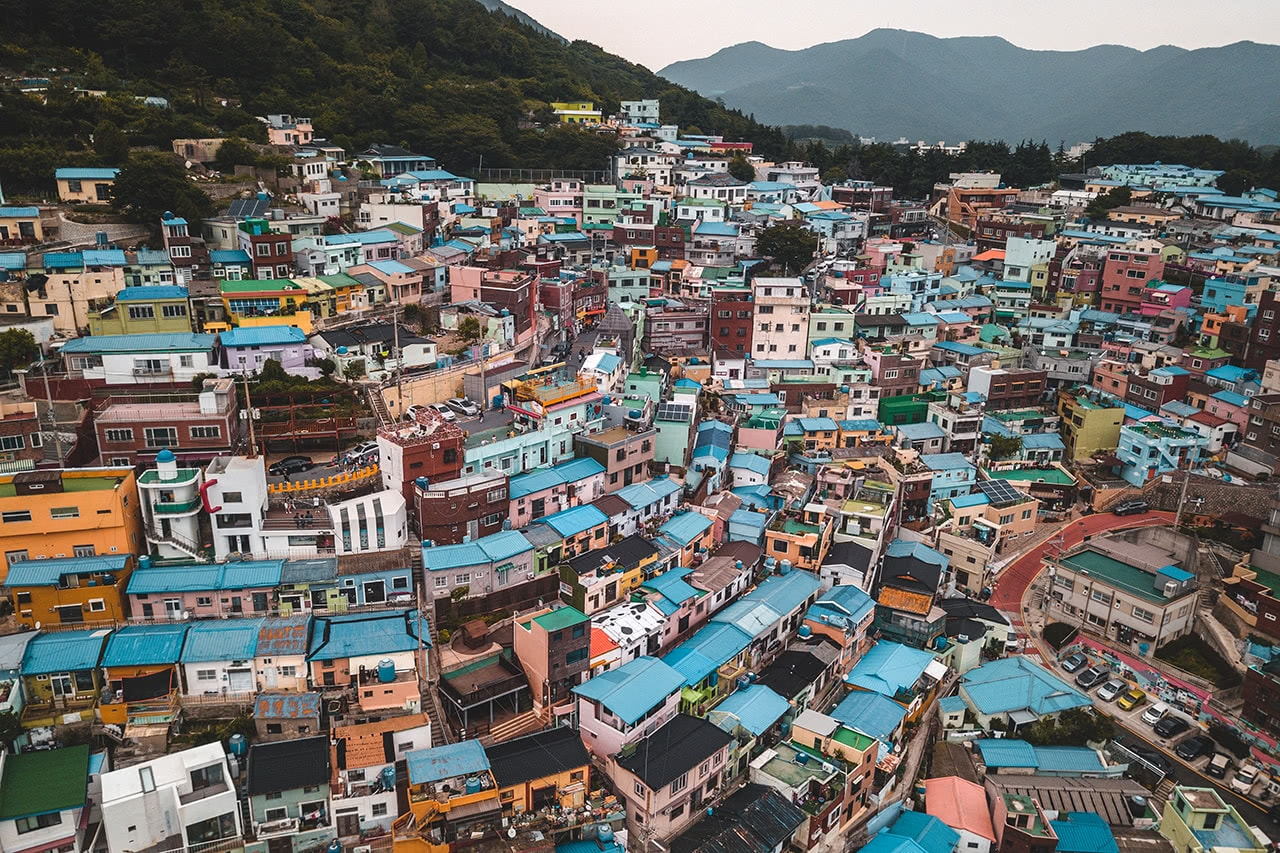 Drone view of the colorful buildings of Gamcheon district in Busan, Korea.