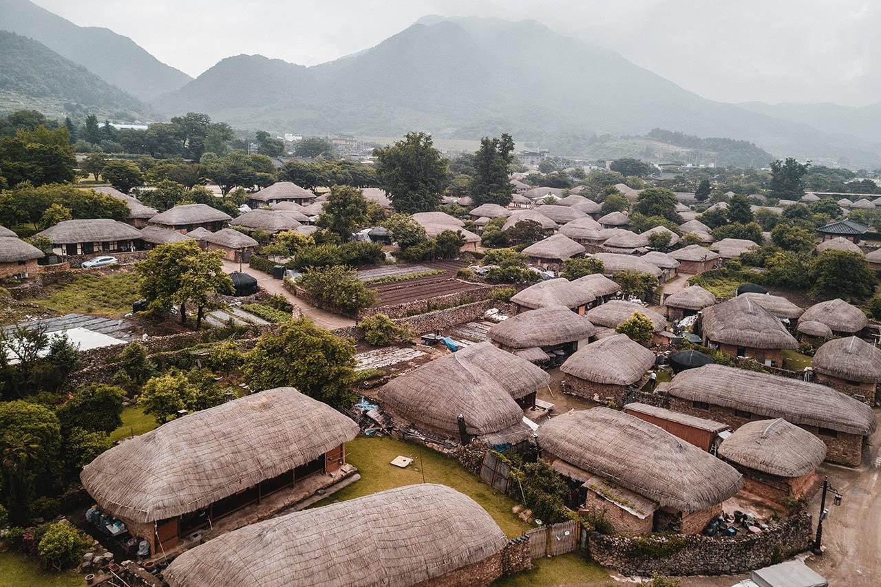 Drone view of Naganeupseong Folk Village in Korea.