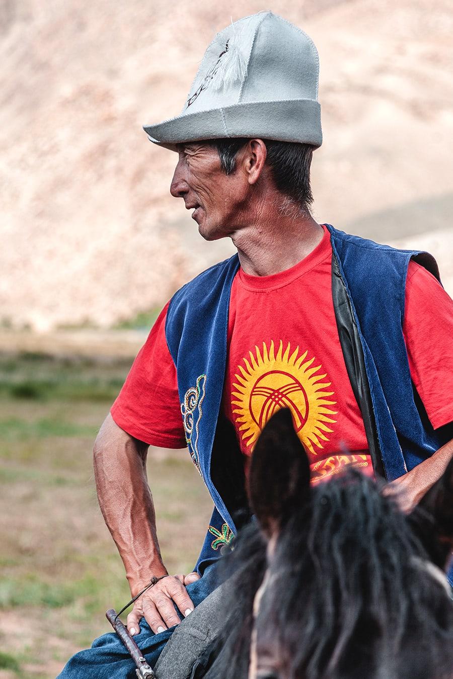Buzkashi or Ulak Tartysh match participant in Kyrgyzstan.