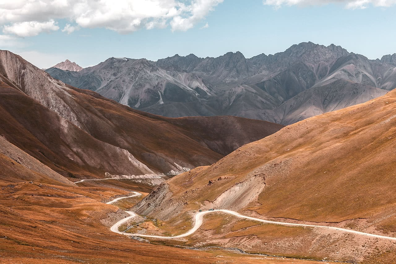 Beautiful scenery and windy road near Karakeche Kyrgyzstan.