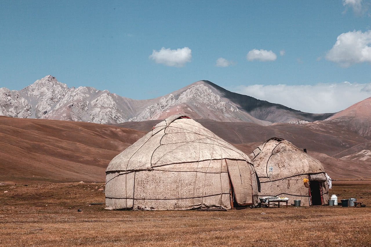 Yurts near the shore of Song-Kul Lake in Kyrgyzstan.
