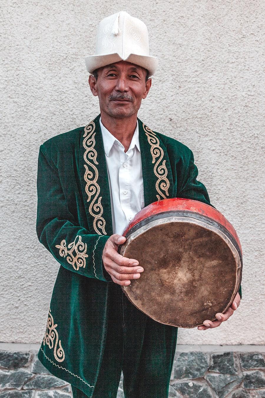 A Kyrgyz musician in Karakol, Kyrgyzstan.