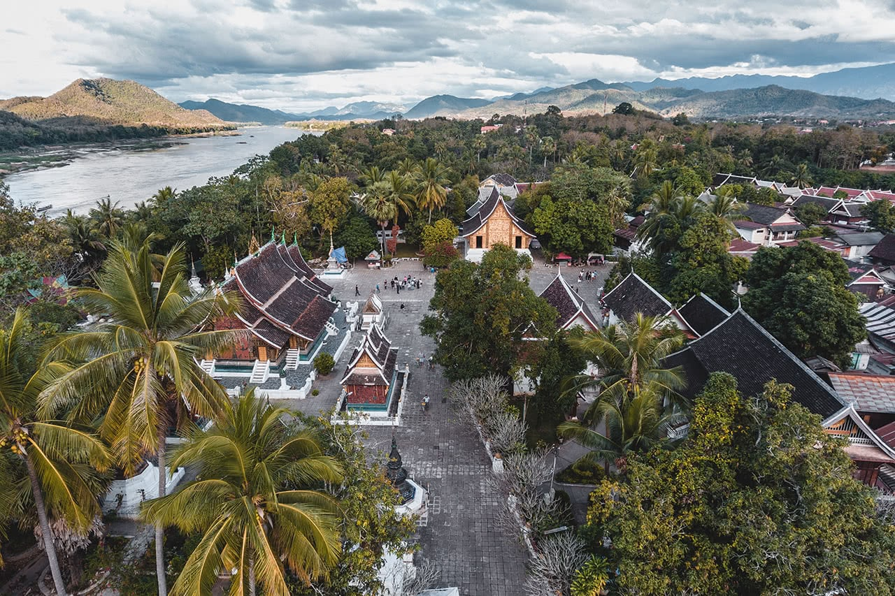 Drone view of the temples of Luang Prabang.