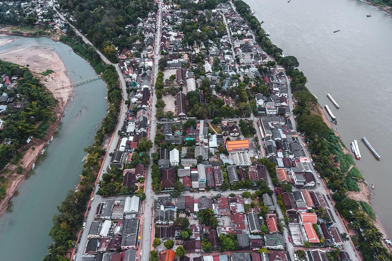 Drone view of Luang Prabang