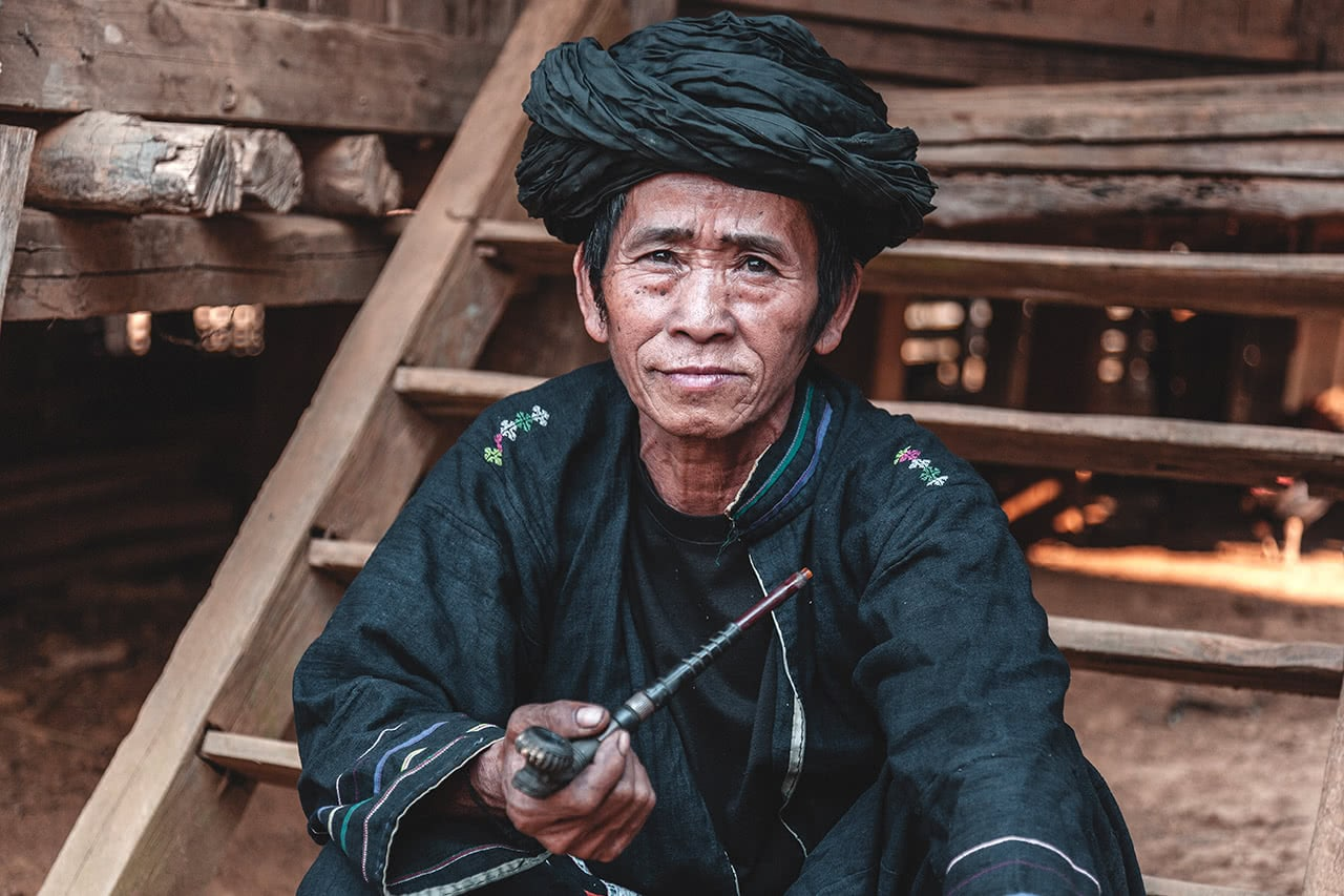 An Akha man in Muang Long, Laos.