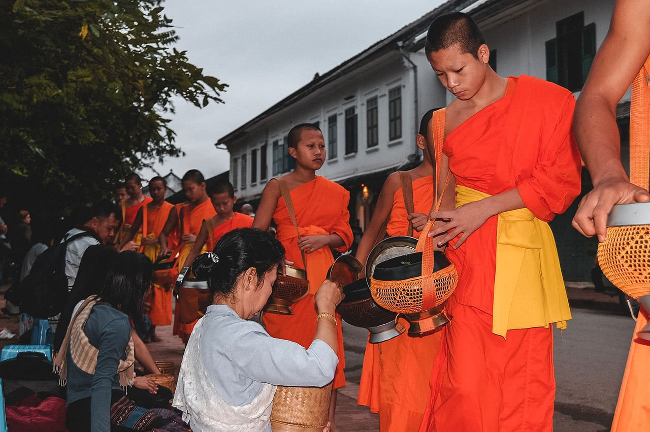 Sunrise alms giving in Luang Prabang, Laos.