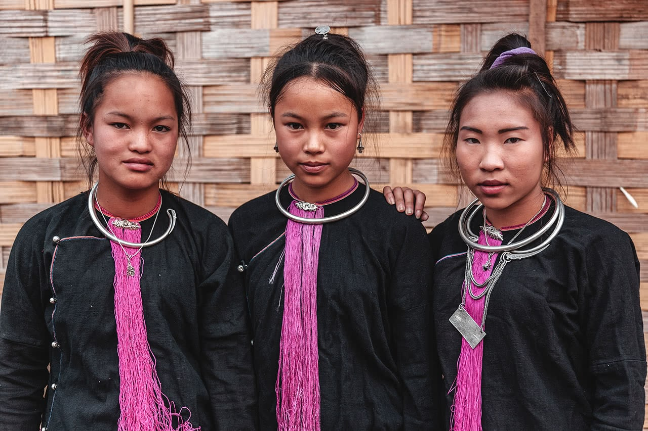 Girls from the Lantan tribe in Luang Namtha, Laos.
