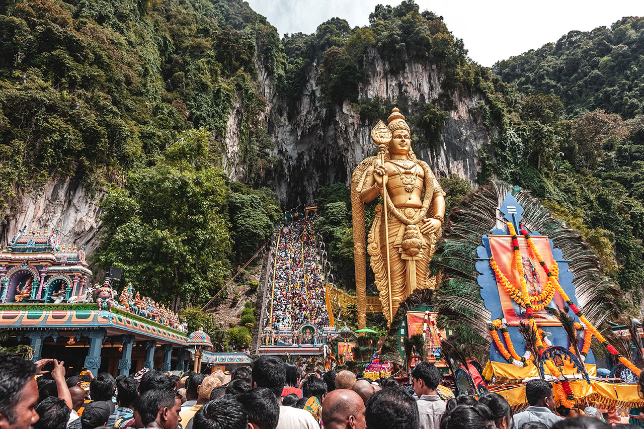 Thaipusam festival at the Batu Caves, Kuala Lumpur, Malaysia.