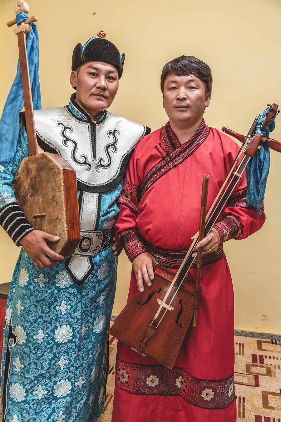 Mongolian musicians and throat singers in Khovd, western Mongolia.
