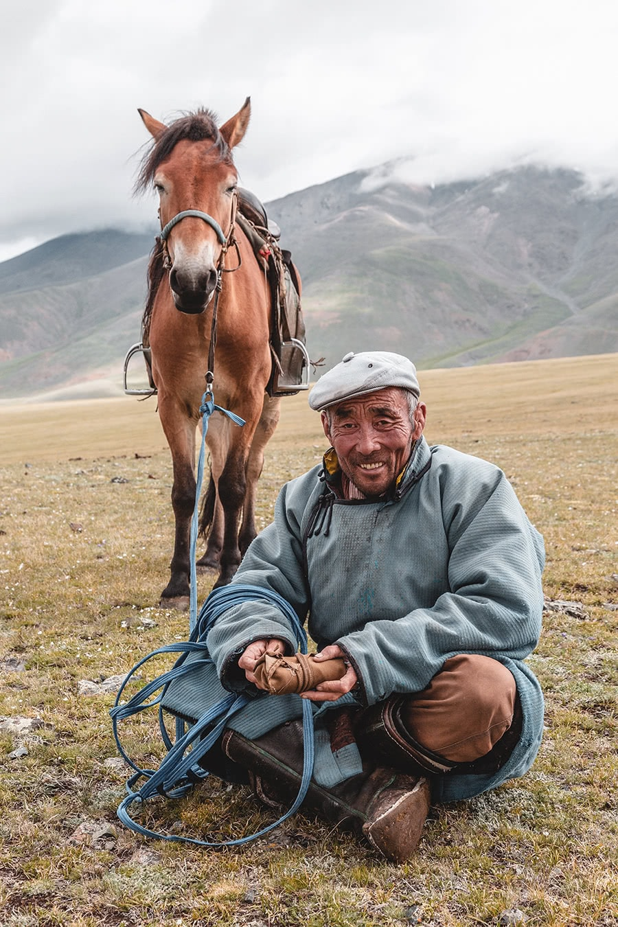 A sheep herder in Bayan-Olgii, Mongolia.