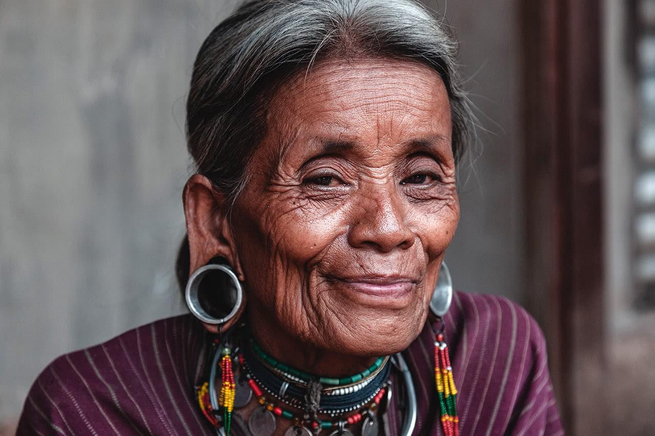 A Kayaw woman near Loikaw, Myanmar with distinctive earrings.