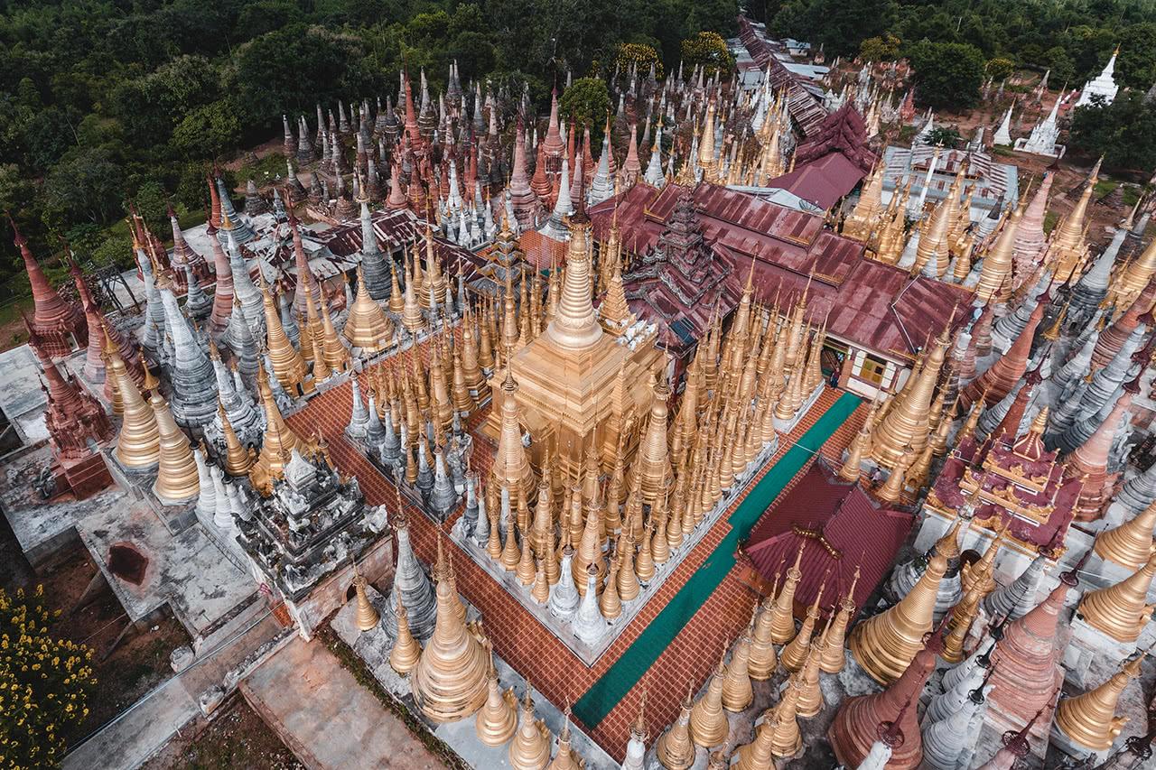 Drone photo of Indein Pagoda, Inle Lake, Myanmar.