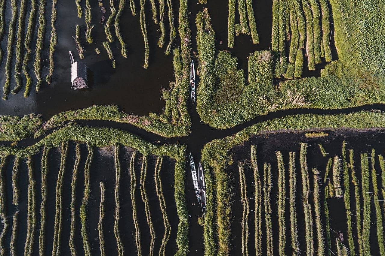 Drone photo looking down at the gardens of Inle Lake.