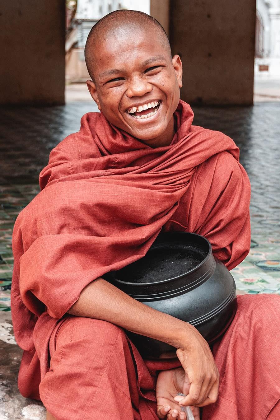 Smiling monk in Bagan, Myanmar.