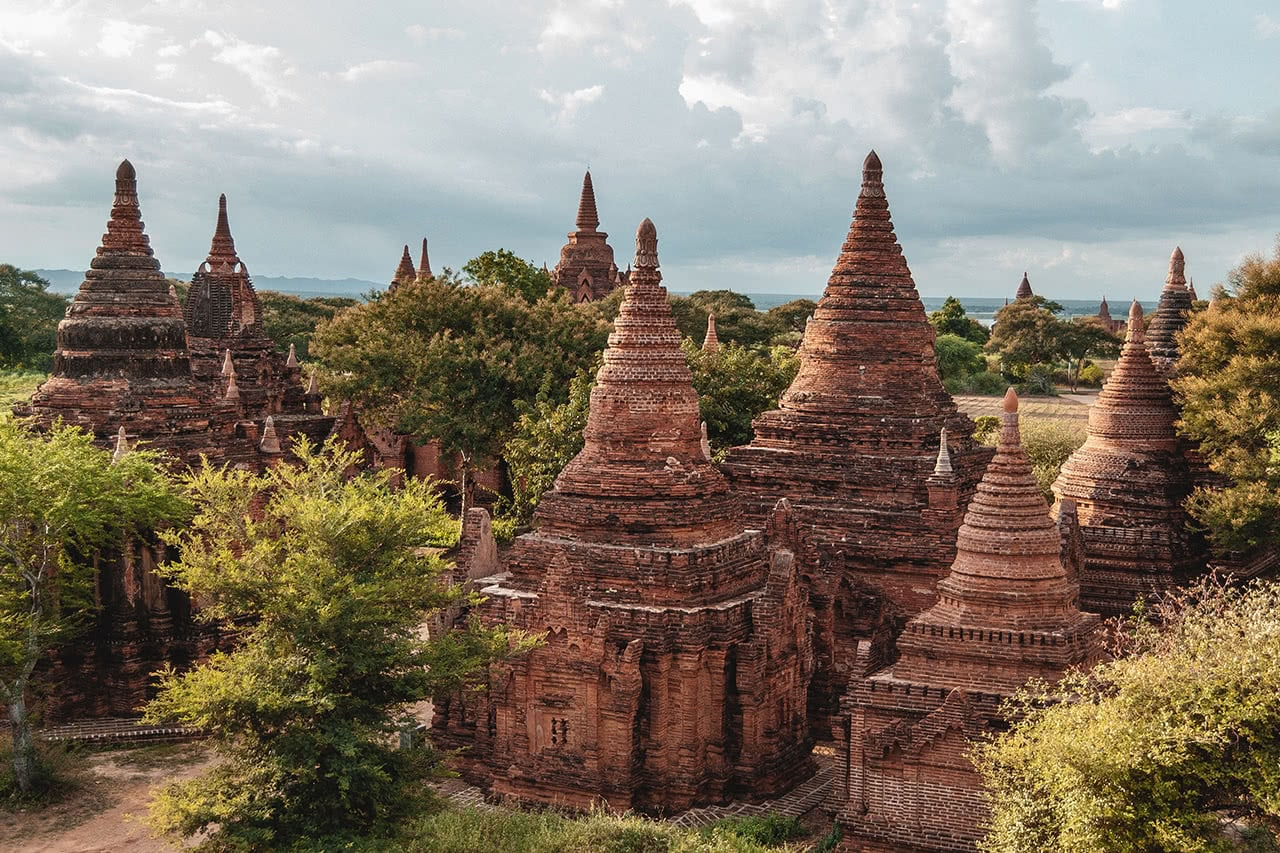 Temples of Bagan, built between the 9th and 13th centuries.