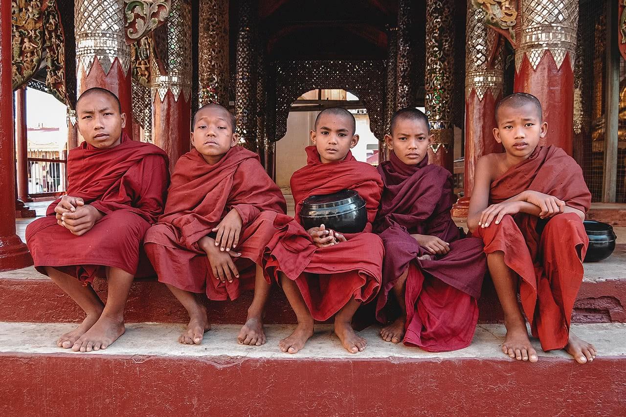 Novice monks in Bagan, Myanmar.