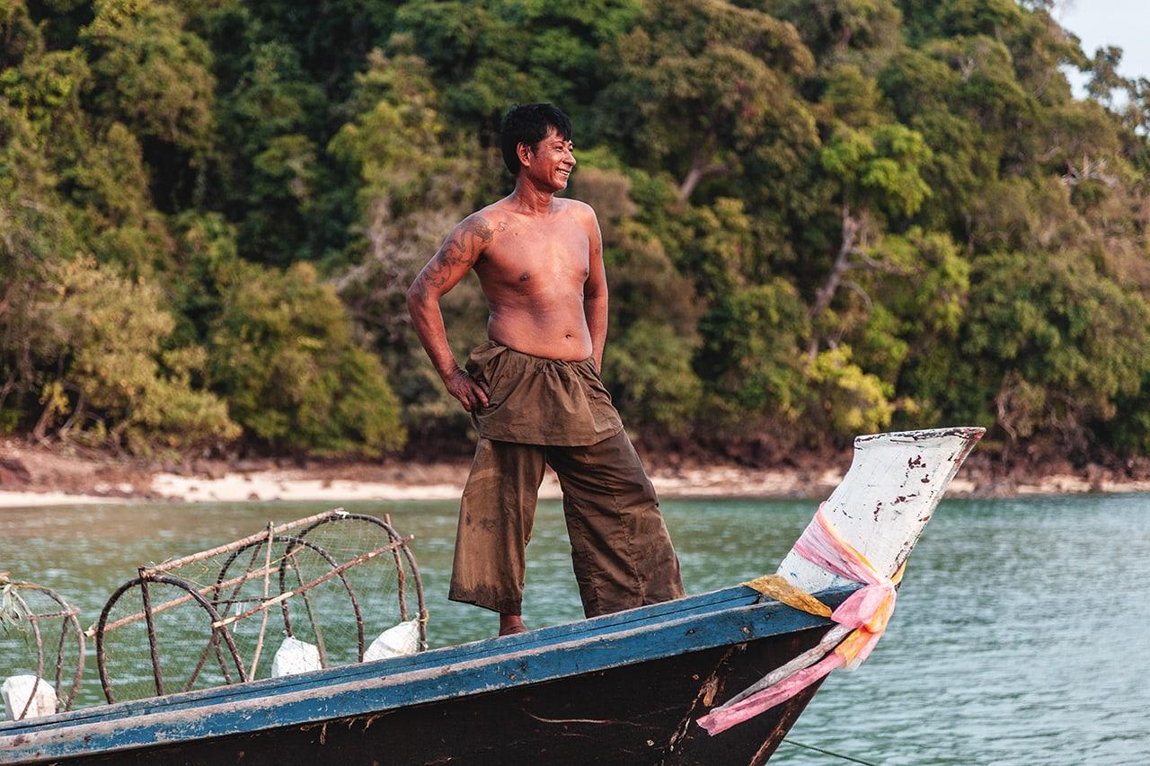 A Burmese fisherman in the Mergui Archipelago, Myanmar.