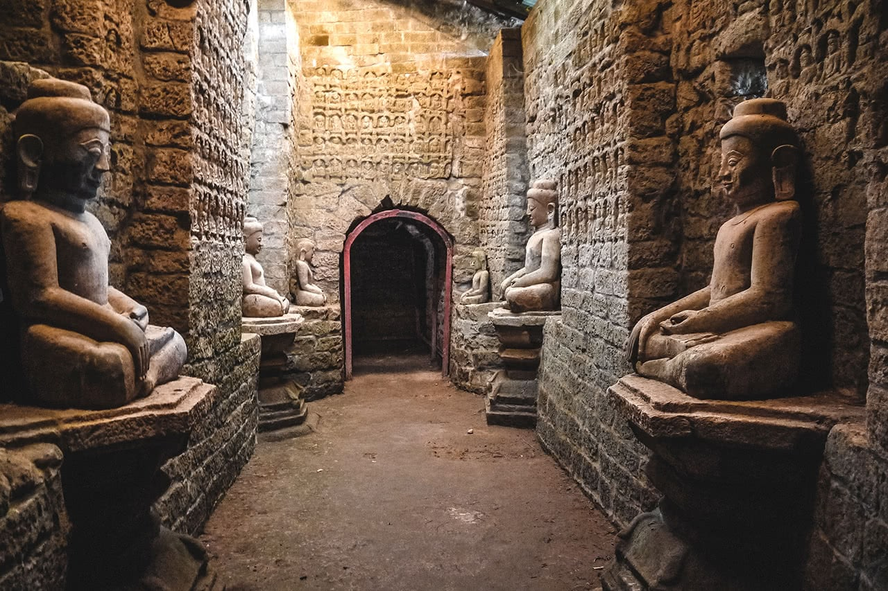 Kothaung Temple in Mrauk U, which contains 90,000 Buddha images.