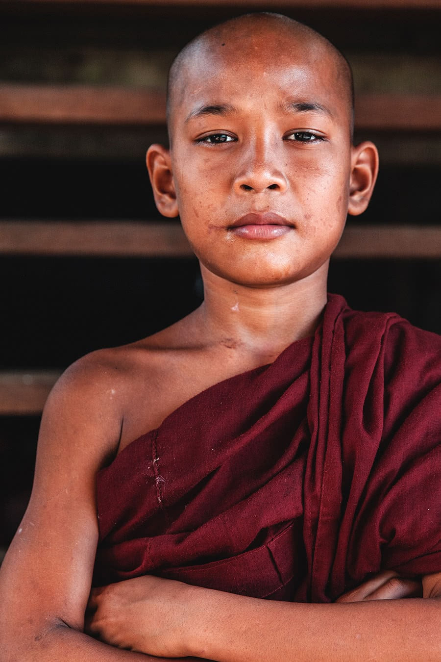 Novice monk on a remote island in the Mergui Archipelago, Myanmar.