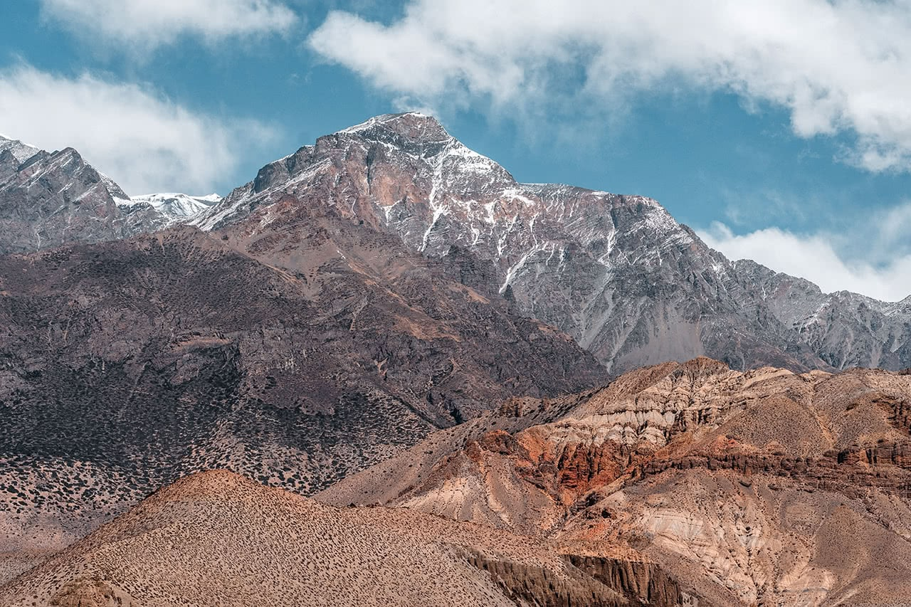 View of the Annapurna range from Upper Mustang, Nepal.