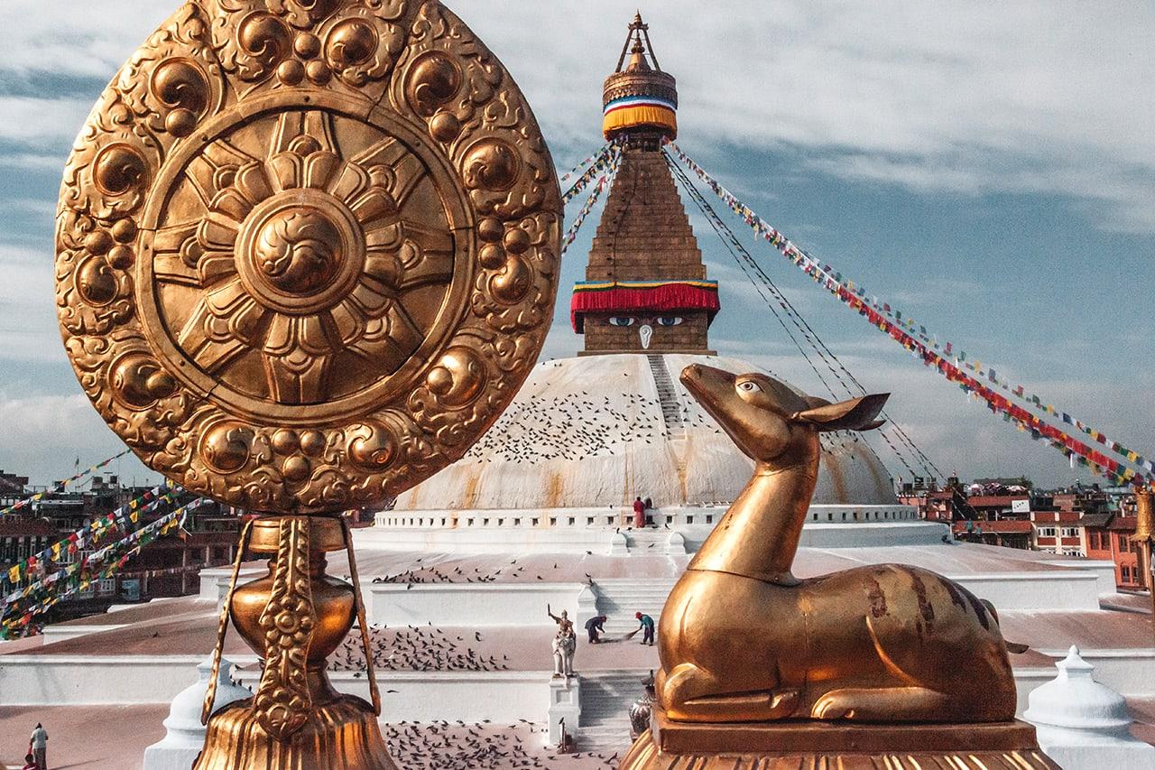 Boudhanath stupa in Kathmandu, Nepal.