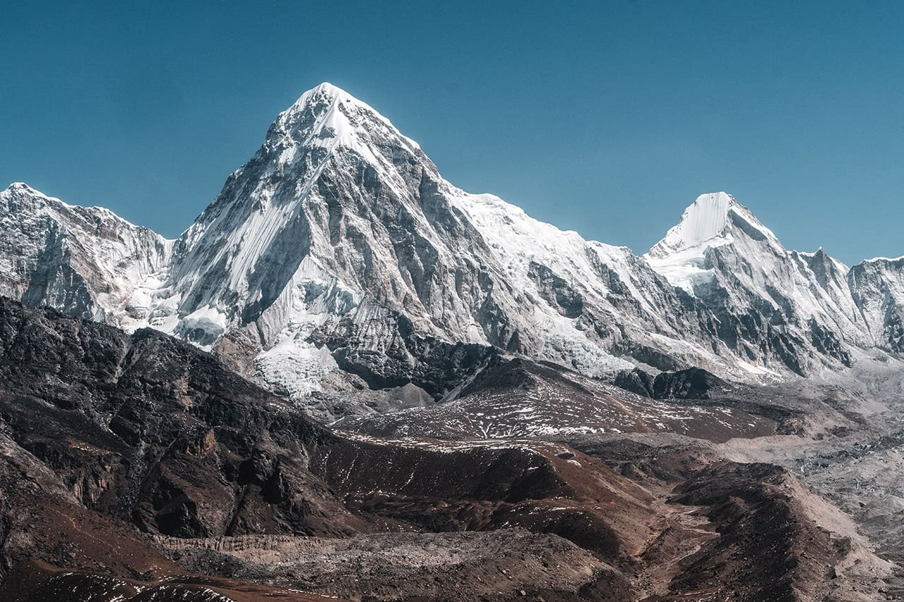 View of the Everest region of Nepal from a helicopter.