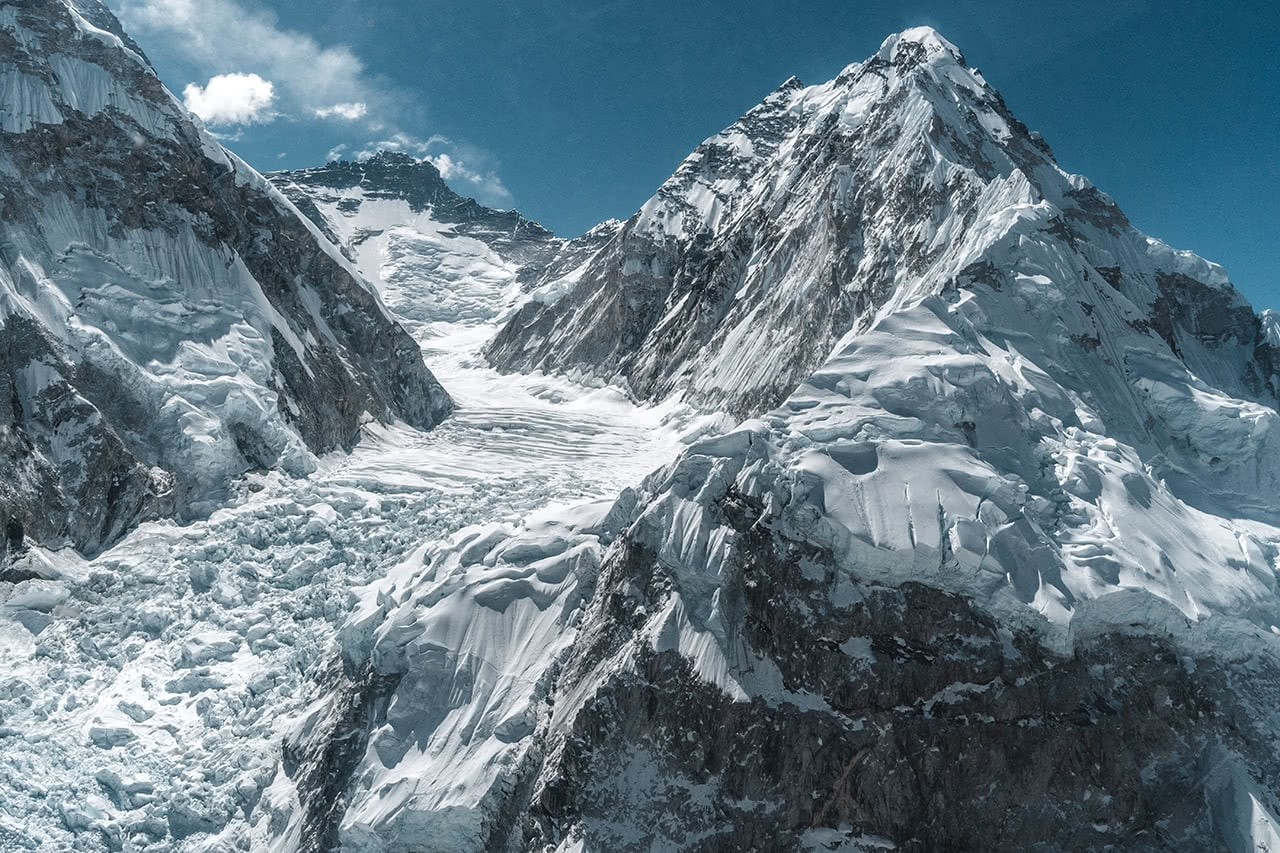 View of Mount Everest taken from a helicopter in Nepal.