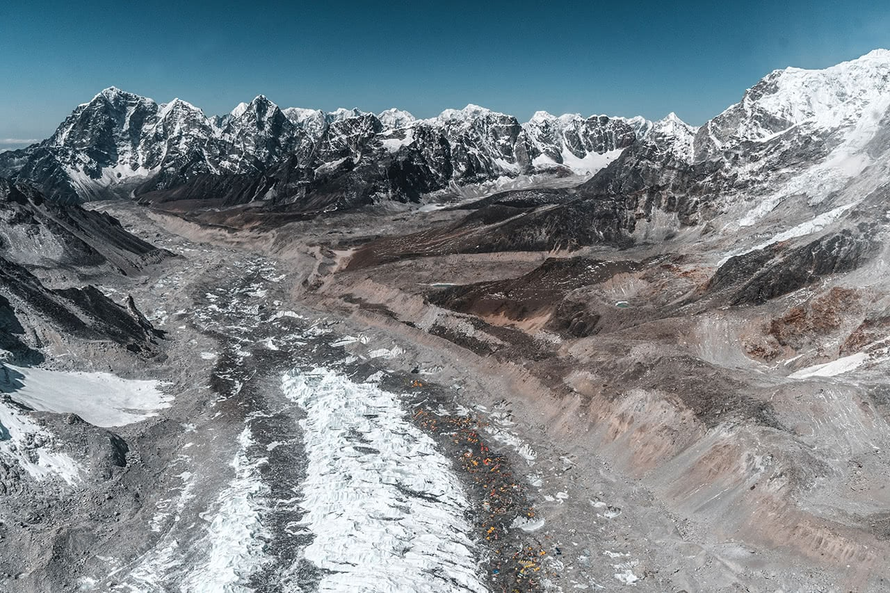 Looking down at Everest base camp as my helicopter flew over.