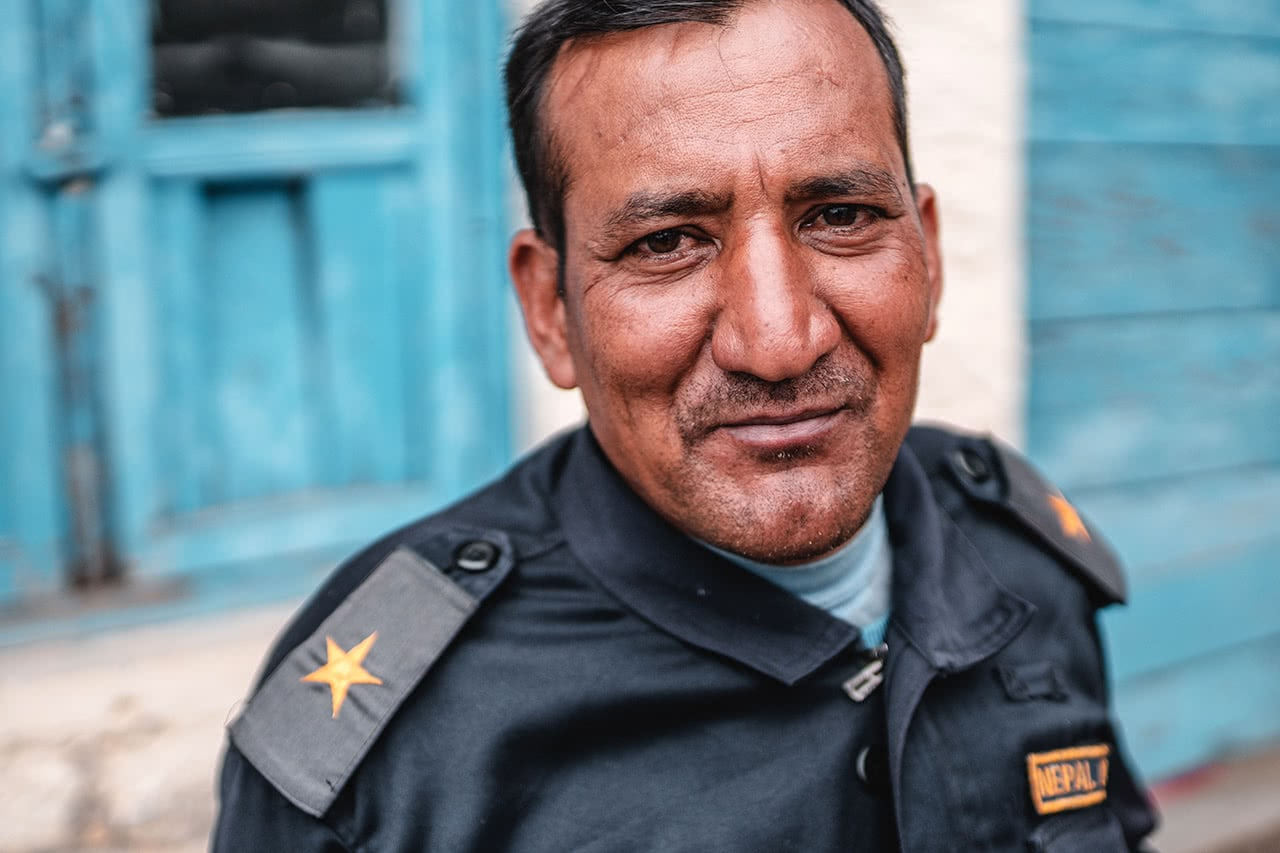 Security guard at the Lukla airport, Nepal.