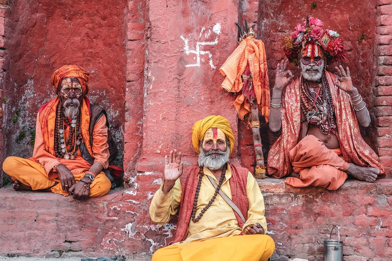 Sadhus at Pashupatinath Temple in Kathmandu.