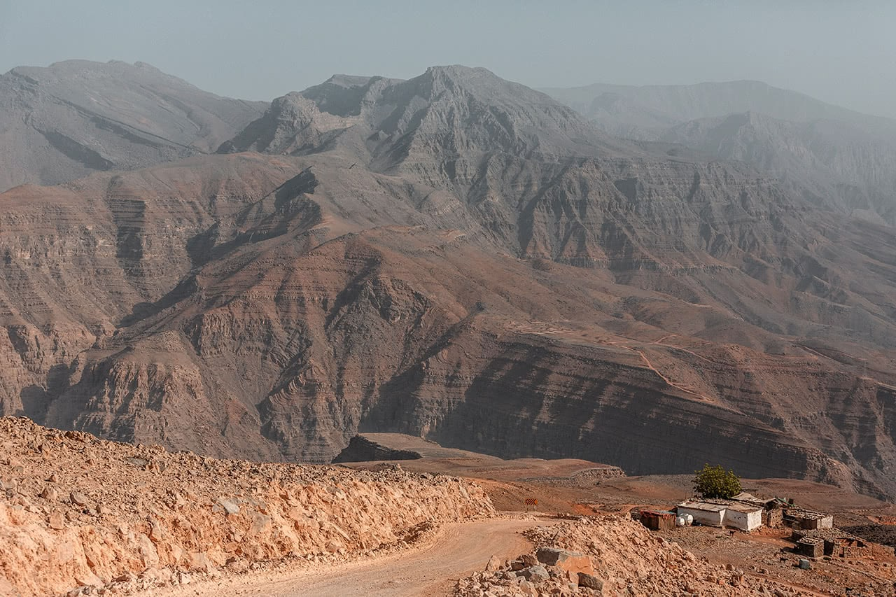 View of the stunning Sabatyn Plateau, in Oman's Musandam Peninsula.